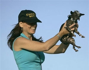 Karen Quigley, of Sewell, N.J., holds her Chinese Crested dog 'Elwood', who won the 2007 World's Ugliest Dog Contest Friday, June 22, 2007, in Petaluma, Calif. Elwood weighs in at just 6 pounds and was rescued as the result of a New Jersey SPCA investigation. (AP