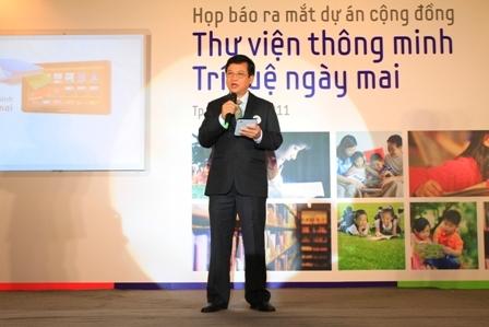 Ông Nguyễn Văn Đạo - Phó Tổng Giám đốc Công ty Điện tử Samsung Vina giới thiệu ý nghĩa của dự án.