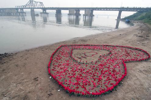 Trái tim khủng bằng hoa hồng có thể nhìn thấy từ cầu Long Biên. Ảnh: L.H.