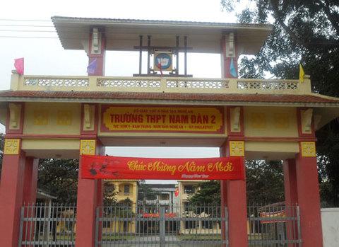Trường THPT Nam Đàn 2, nơi xảy ra sự việc.