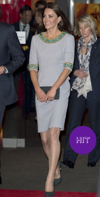 Kate embraced her tribal side for the London premiere of 'African Cats' in a shift dress by London Fashion Week designer Matthew Williamson. The peplum-waisted design is from the designer's pre-fall 2012 collection and was paired with shoes and matching clutch bag by designer Emmy Scarterfield