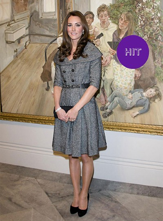 Kate made a pretty picture in this tweed coat-dress by Jesiré and black Jimmy Choo pumps at the opening of the new Lucian Freud exhibition at London's National Portrait Gallery.