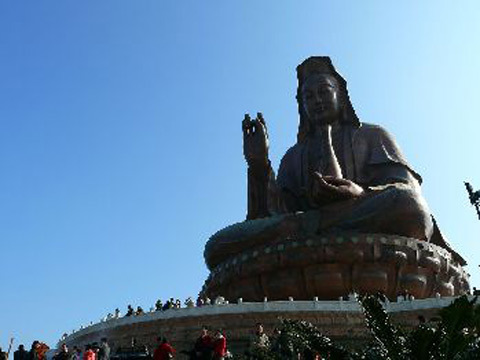Xijiaoshan Kwan-yin Statue is 61.9 meters high, situated on the top of a hill in Foshan city, South China's Guangdong province. It was completed in 1998 as the highest sitting Kwan-yin statue.
