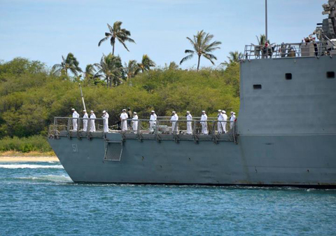 Oliver Hazard Perry-class frigate USS Gary (FFG 51) transits the waters of Joint Base Pearl Harbor-Hickam in support of Rim of the Pacific (RIMPAC) 2012 exercise