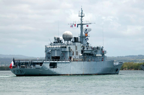 The French frigate Prairial (F731) arrives at Joint Base Pearl Harbor-Hickam for the Rim of the Pacific (RIMPAC) exercise 2012.