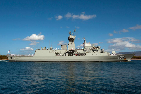 The Anzac class frigate HMAS Perth (FFH 157) of the Royal Australian Navy pulls into Joint Base Pearl Harbor-Hickam to support Rim of the Pacific (RIMPAC) 2012 exercise.