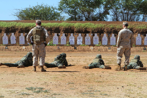 Mexican Marines fire at 25-yard targets in the prone position during a weapons training evolution as part of Rim of the Pacific 2012, July 2, 2012.