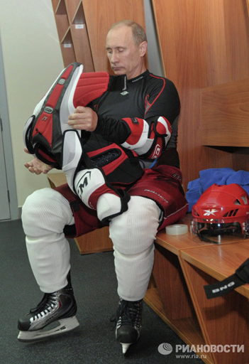 On the day of his inauguration Vladimir Putin took part in a gala match of the Russian Amateur Ice Hockey League versus a Legends of Russia team. Vladimir Putin took to the ice as part of the amateur league team