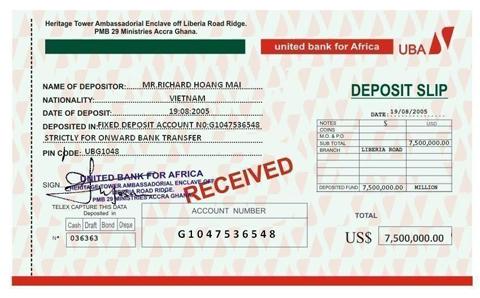 Đây là phiếu yêu cầu nộp tiền vào tài khoản để chuyển số tiền 7.5 triệu đô mà chúng làm giả.