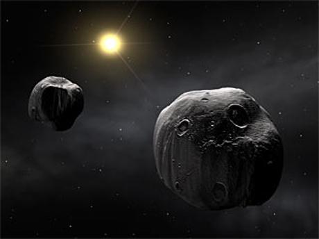 Hình minh họa hai thiên thạch trong hệ Mặt Trời. Ảnh: