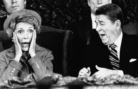 "1985: It was an ""oops!"" moment for first lady Nancy Reagan when she forgot to introduce President Ronald Reagan during an inaugural event. It was too cold for an outdoor parade that year, so instead participants had been invited to the Capital Centre in Landover, Md."