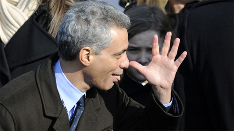 2009: Incoming White House Chief of Staff Rahm Emanuel makes a face before President Barack Obama's first inauguration. The person behind him does not look amused.