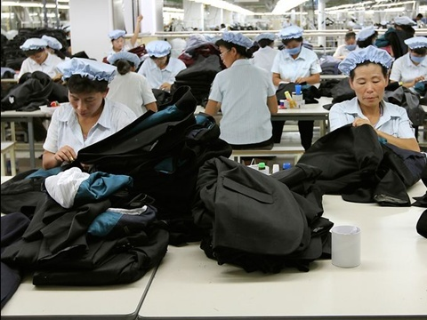 North Korean workers assemble clothing at the South Korean-run ShinWon garment factory at the Kaesong industrial complex on Sept. 21, 2012, in Kaesong, North Korea. North Korea barred South Korean managers and vehicles from entering the industrial park on April 3, a day after announcing it will restart its nuclear program. Jean H. Lee, AP