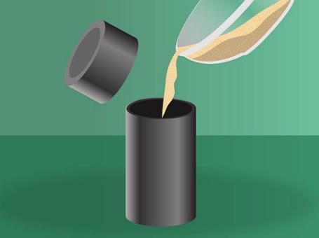 Đổ hỗn hợp vào nồi nấu kim loại hoặc thùng chứa chịu nhiệt.