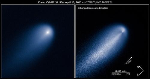 Hình ảnh của sao chổi ISON được chụp bởi Kính viễn vọng không gian Hubble của NASA Ảnh : NASA, ESA, và Z. Levay (STScI)