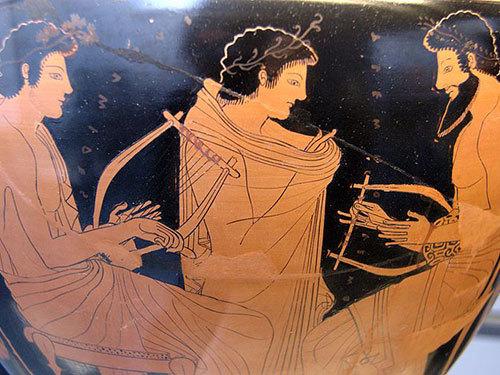 ức họa Hy Lạp mang tên Bài học nhạc - năm 510 trước Công nguyên. Nguồn: Wikimedia