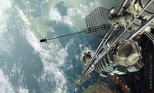 Minh họa thang máy trong không gian    Ảnh: Mondoart