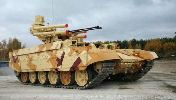 """Mẫu xe tăng hỗ trợ chiến đấuBMP T-72 được mệnh danh là """"Kẻ hủy diệt II"""". Ảnh RIA Novosti"""