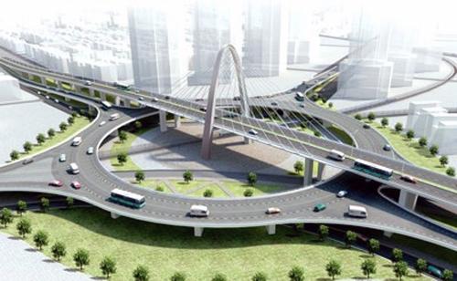 Cầu vượt tại nút giao thông ngã ba Huế (Đà Nẵng) khi hoàn chỉnh sẽ gồm 3 tầng, mỗi tầng 4 làn xe, bề rộng từ 15 đến 17m.