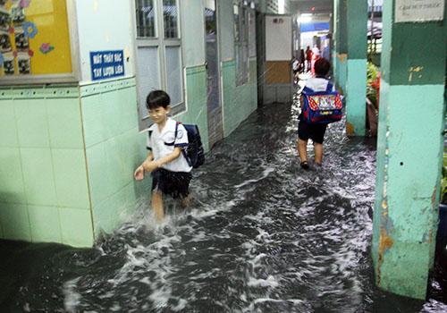 Nước tràn vào trường tiểu học Hòa Bình. May mắn lúc này là giờ tan học nên các em học sinh không phải đối phó với cảnh ngồi học trên biển nước