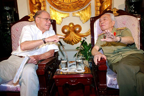 [Caption]Mr. McNamara exchanging recollections of the Vietnam War with his past foe, Gen. Vo Nguyen Giap, in 1997.