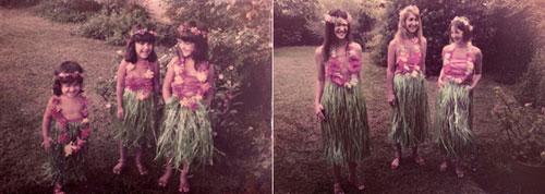 Ba chị em xinh xắn và hồn nhiên trong bộ váy Hawai thưở nào.
