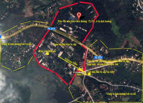 ước tính vụ nổ đã làm thiệt hại ở 3 xã lân cận xí nghiệp là Khải Xuân, Võ Lao và Đông Thành (huyện Thanh Ba).Ảnh, sơ đồ: Bá Đô