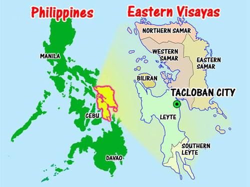 Thành phố Tacloban (chấm xanh), nơi được mô tả là có hơn 100 thi thể nằm la liệt trên đường sau khi bão Haiyan đi qua. Ảnh:blancsablon.com
