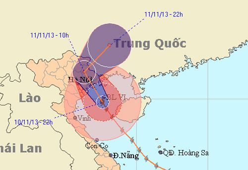 Dự báo đường đi bão Haiyen của Trung tâm Khí tượng thủy văn Trung ương.