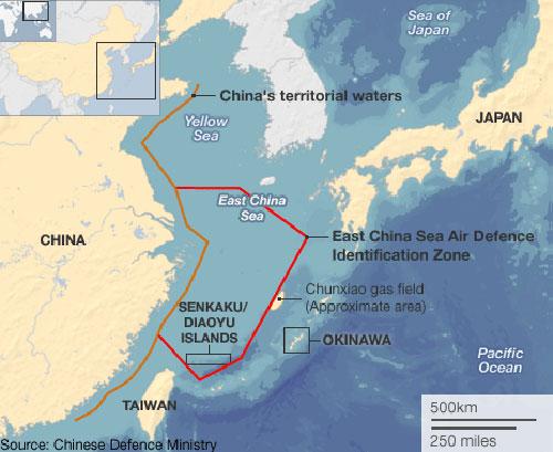 Bản đồ cho thấy vùng nhận dạngphòng không mà Trung Quốc vừa tuyên bố (đường gạch đỏ). Đồ họa:BBC/CDM