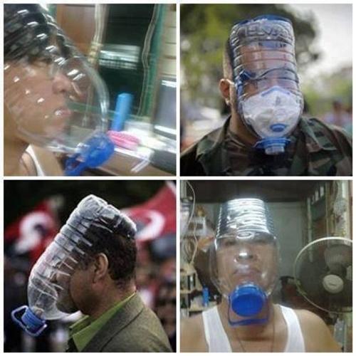 Để đối phó với hơi cay của cảnh sát, người biểu tình chống chính phủ Thái Lan đang vận dụng trí sáng tạo, phát minh ra nhiều loại mặt nạ độc đáo.