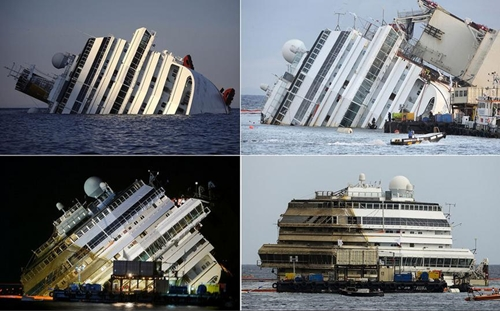 4 bức hình mô tả quá trình trục vớt du thuyền Costa Concordia ở đảo Giglio, phía tây Italy hôm 17/9