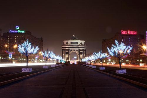 Khải hoàn môn nằm trên đại lộ Kutuzov