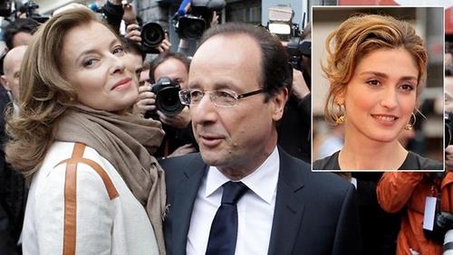 Tổng thống Pháp Francois Hollande (giữa), bạn gái lâu nămValerie Trierweiler (trái) và người tình tin đồn của ông, diễn viên Julie Gayet. Ảnh: News.com.au