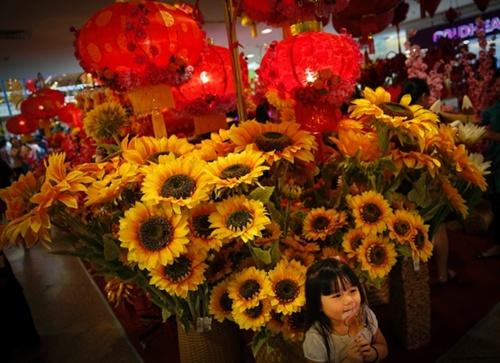 Bé gái đứng trước gian trưng bày mừng năm mới âm lịch tại một trung tâm mua sắm ở Kuala Lumpur. Theo Malay Mail, người dân Malaysia đang đổ ra đường và các trung tâm thương mại để chiêm ngưỡng những khu trang trí đẹp mắt và mua sắm trước thềm năm mới. Ảnh: AP