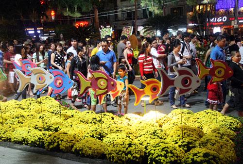 Tối 7/2 (27 tháng Chạp), hàng chục nghìn người tập trung ở đường hoa Nguyễn Huệ để thưởng thức, nhiều người đến từ lúc 18h khi đường hoa chưa mở cửa.