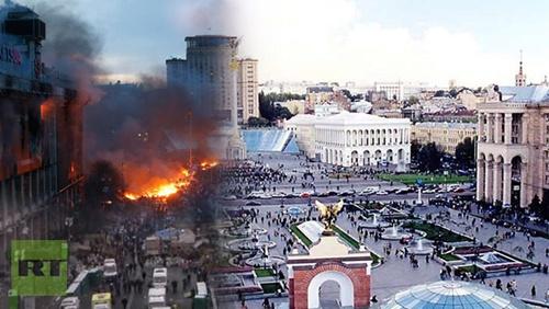 Hình ảnh trước và sau của Quảng trường Độc lập, Kiev, trung tâm của chiến dịch biểu tình chống chính phủ cho thấy