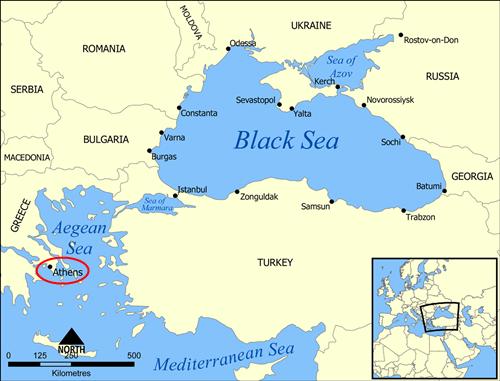 Tàu khu trục USS Truxtun của Mỹ hôm qua rời vịnh Souda (gần Athen) tiến vào Biển Đen. Đồ họa: Wikipedia.