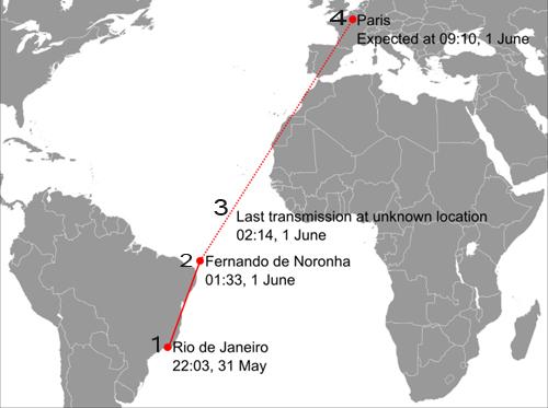 Bản đồ chuyến bay AF 447 của Air France.1. Máy bay cất cánh từ Rio de Janeiro lúc 22h03 ngày 31/52. Máy bay thực hiện liên lạc lần cuối với radar khi bay phía trênquần đảo Fernando de Noronha của Brazil lúc 1h333. Máy bay gửi tín hiệu tự động báo sự cố lúc2h14và mất tín hiệu từ đó4. Máy bay dự kiến đến Paris lúc 9h10