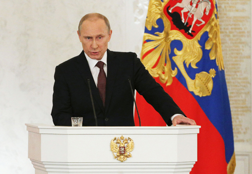 Tổng thống Nga Vladimir Putin phát biểu trướcthành viên Hạ viện, chính phủ liên bang, lãnh đạo của các khu vực và đại diện của các giới trong xã hội