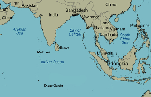 Bản đồ vị trí Ấn Độ, Srilanka, đảo quốc Malpes hay đảo san hôDiego Garcia