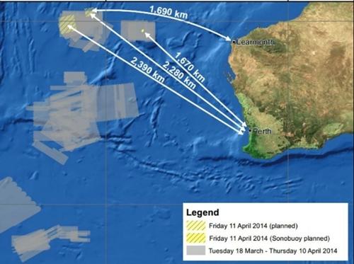Khu vực tìm kiếm MH370 trong hôm nay. Đồ họa: AMSA.