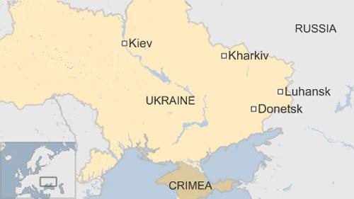 Bản đồ thể hiện vị trí các thành phố Donetsk, Luhansk và Kharkiv của Ukraine. Đồ họa: BBC