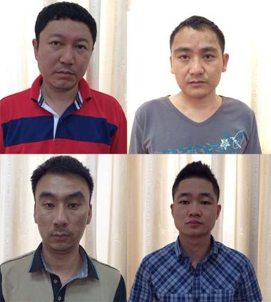 Nhóm người Trung Quốc bị công an bắt giữ. Ảnh: Sơn Dương