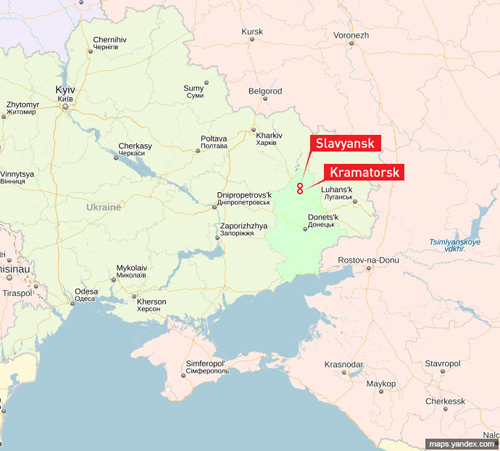 Vị trí hai thành phố Slavyansk và Kramatorsk ở miền đông Ukraine. Đồ họa: Yandex