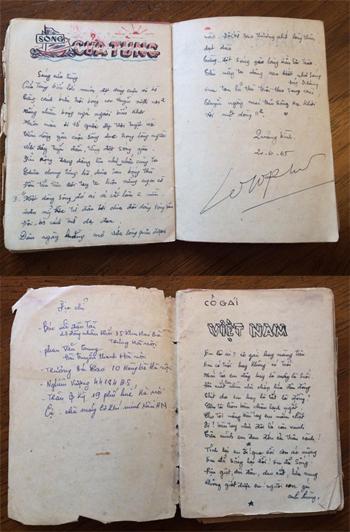 Các bài hát,bài thơ được chủ nhân cuốn sốtrang trí khá cầu kỳ. Địa chỉ của một số người quen nằm ở trang đầu. Ảnh: Việt Hùng