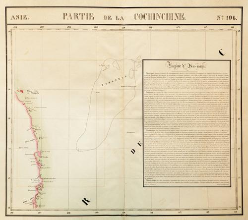Bản đồ mang tên Partie de la Cochinchie vẽ chính xác vị trí của PARACELS (Hoàng Sa) trong khoảng vĩ độ 16 đến 17 và kinh độ từ 109 đến 111. Bên cạnh là một bản giới thiệu tóm tắt về Đề chế An Nam. Ảnh: Trung Nguyễn.