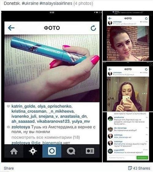 Yekaterina Parkhomenko chụp ảnh với cây cọ mascara từ Hà Lan, vật dụng lấy từ hiện trường chuyến bay MH17. Ảnh: Instagram