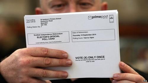 Hôm nay người Scotland bỏ phiếu về ly khai