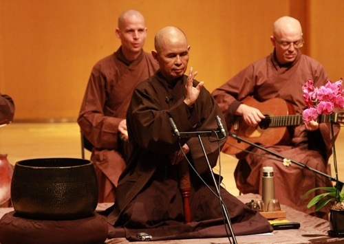 He delivers a lecture, now and Zen Vietnamese Zen Buddhist monk and author Thich Nhat Hanh delivers a lecture at the College of Music, Mahidol University, Salaya Campus, 29 March 2013.